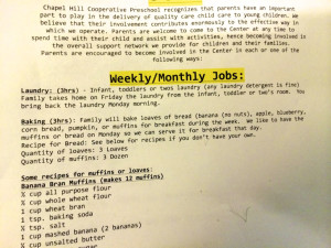 Photo of job descriptions.